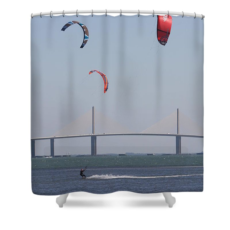 Bridge Shower Curtain featuring the photograph Kite Surfer And Skyway Bridge by Christiane Schulze Art And Photography