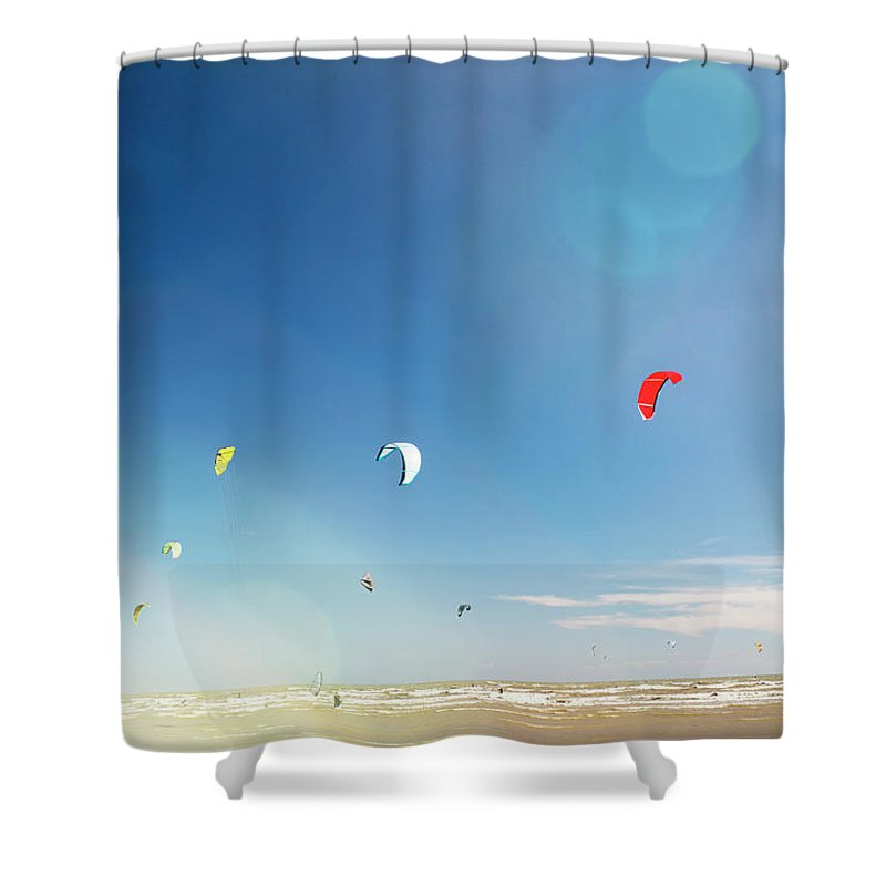 Water's Edge Shower Curtain featuring the photograph Kite Surfers by Nick David