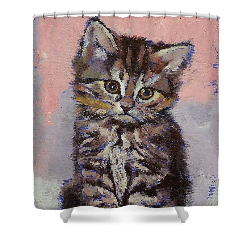 Cat Shower Curtain Featuring The Painting Kitten By Michael Creese