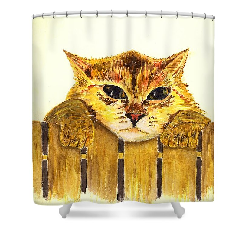 Cat Shower Curtain featuring the painting Kitten On Fence by Michael Vigliotti