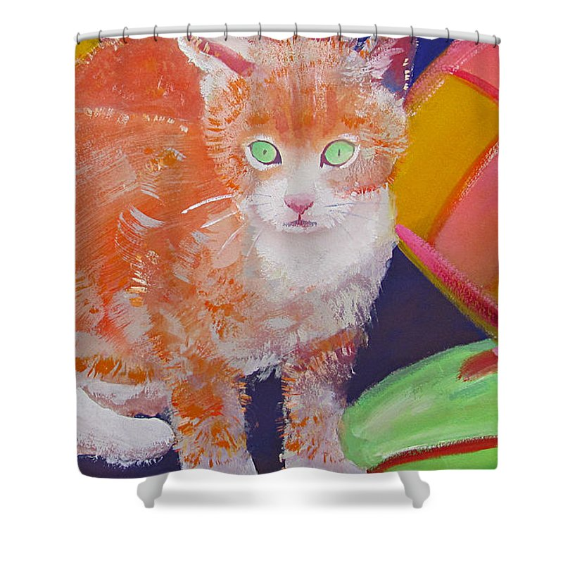 Kittens Shower Curtain featuring the painting kittens With A Ball of Wool by Charles Stuart