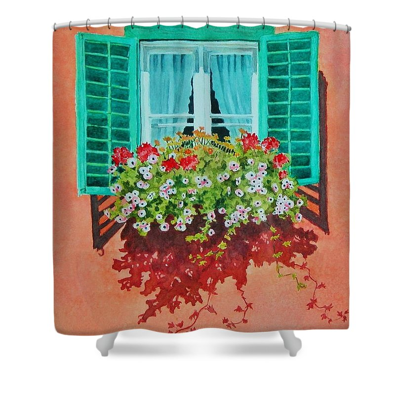Window Box Shower Curtain featuring the painting Kitzbuhel Window by Mary Ellen Mueller Legault