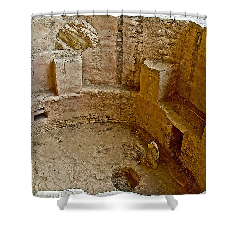 Kiva With Sipapu In Courtyard Of Spruce Tree House On Chapin Mesa In Mesa Verde National Park Shower Curtain featuring the photograph Kiva With Sipapu In Spruce Tree House On Chapin Mesa In Mesa Verde National Park-colorado by Ruth Hager
