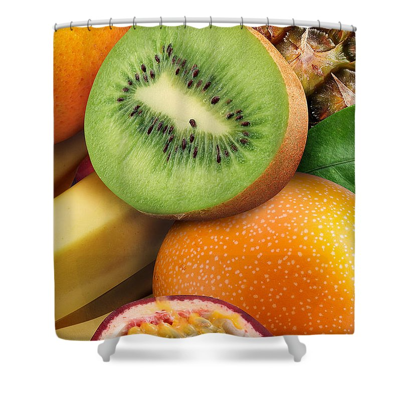 Kiwi Shower Curtain featuring the photograph Kiwi And Banana by Munir Alawi