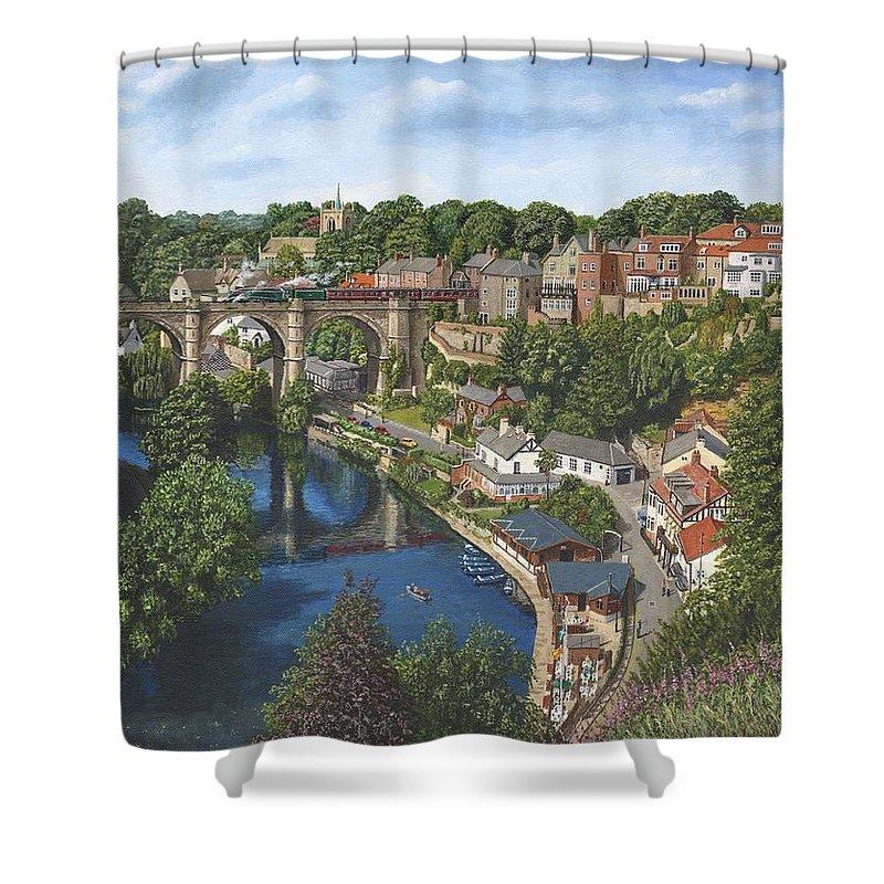Landscape Shower Curtain featuring the painting Knaresborough Yorkshire by Richard Harpum