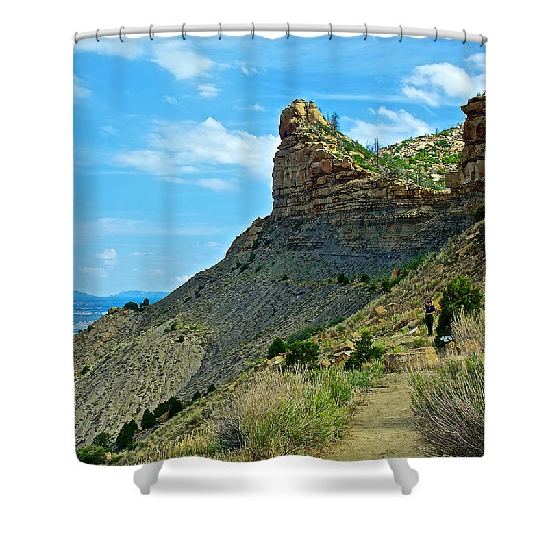 Knife Edge Road Overlooking Montezuma Valley In Mesa Verde National Park-colorado Mesa Verde National Park Shower Curtain featuring the photograph Knife Edge Road Overlooking Montezuma Valley In Mesa Verde National Park-colorado by Ruth Hager