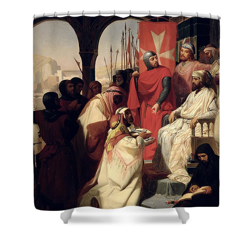 Knights Templar Shower Curtain featuring the painting Knights Of The Order Of St John Of Jerusalem Restoring Religion In Armenia by Henri Delaborde