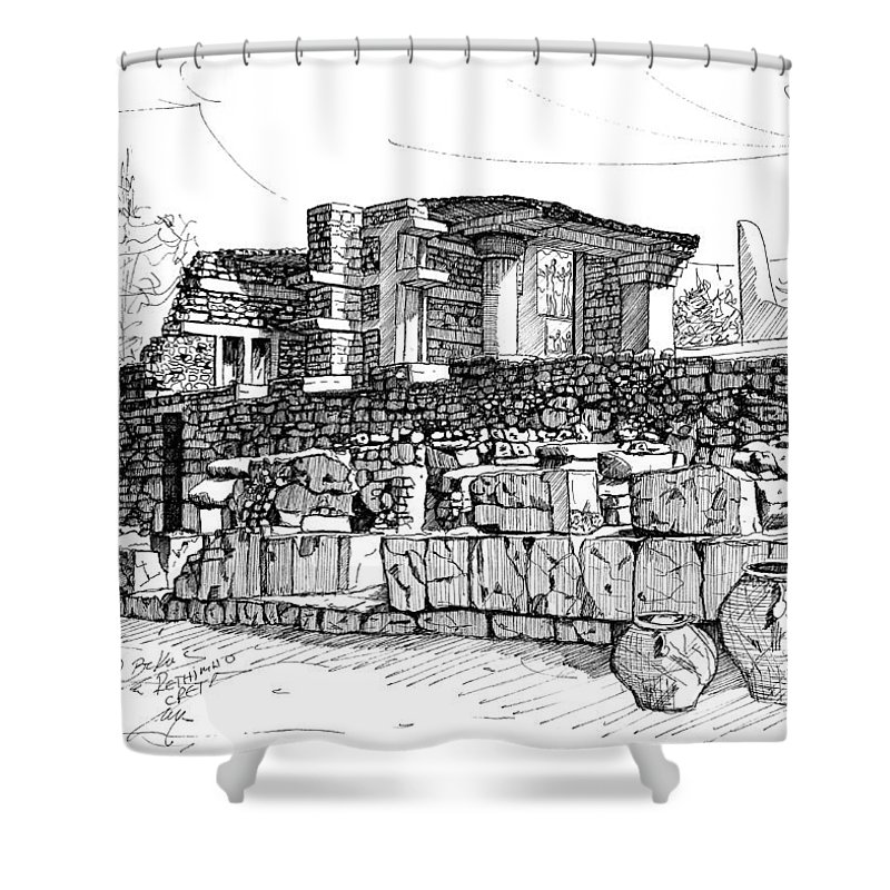 Shower Curtain featuring the drawing Knossos-creta by Franko Brkac