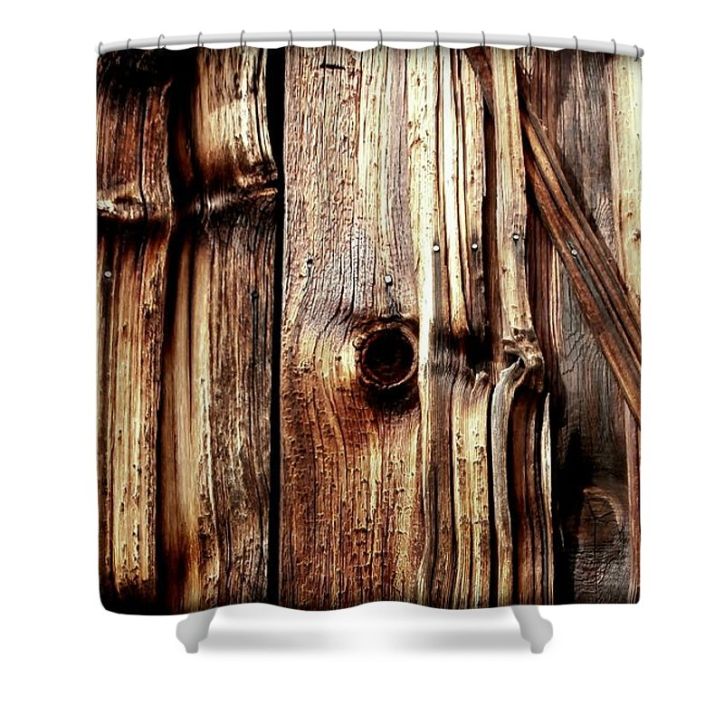 Wood Shower Curtain Featuring The Photograph Knotty Grain By Janine Riley
