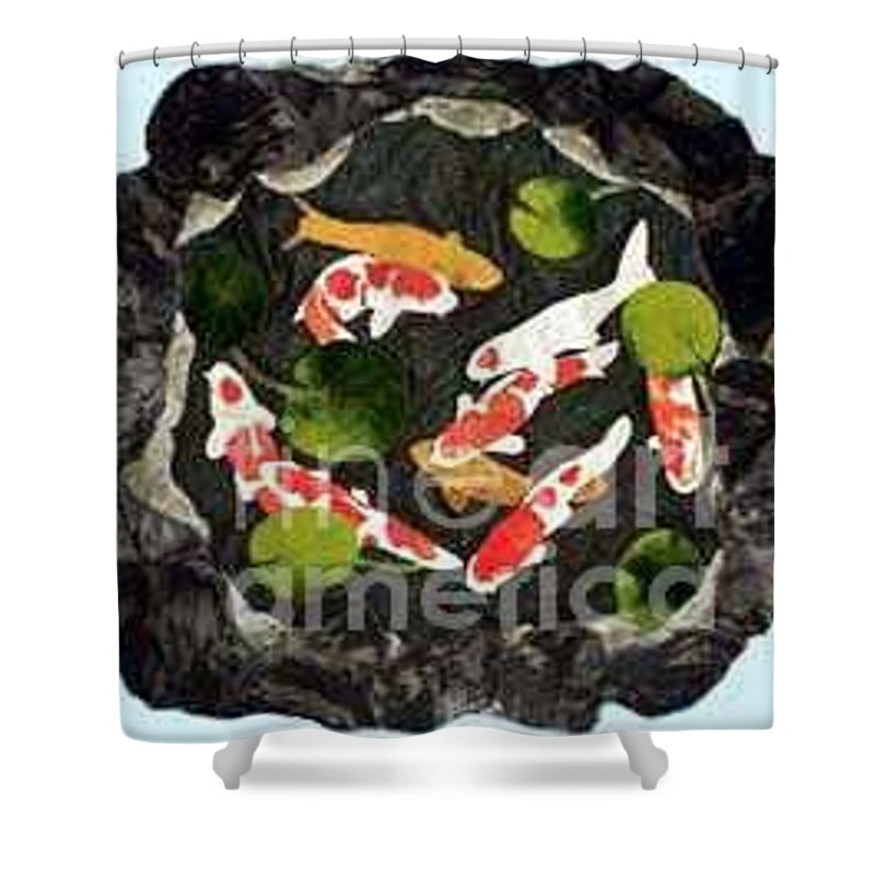 Fiber Shower Curtain featuring the tapestry - textile Koi Fest by Jenny Williams