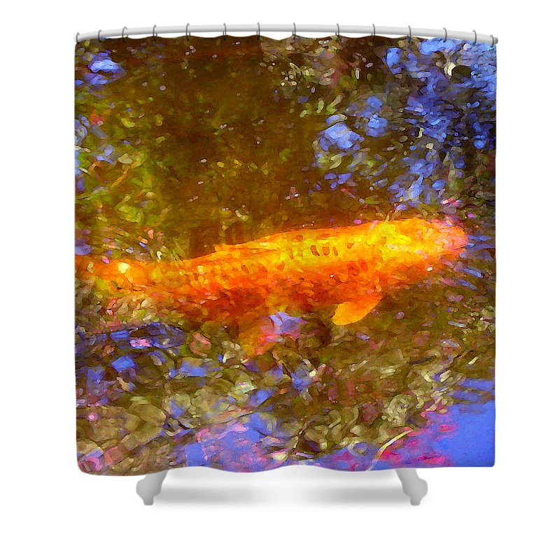 Animal Shower Curtain featuring the painting Koi Fish 2 by Amy Vangsgard