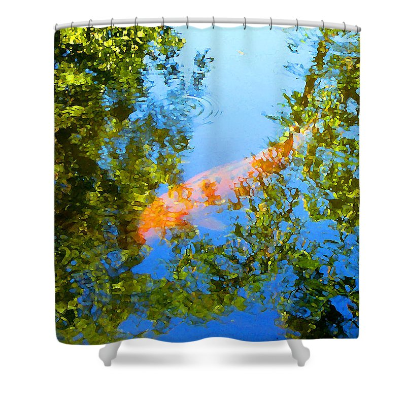 Animal Shower Curtain featuring the painting Koi Fish 3 by Amy Vangsgard
