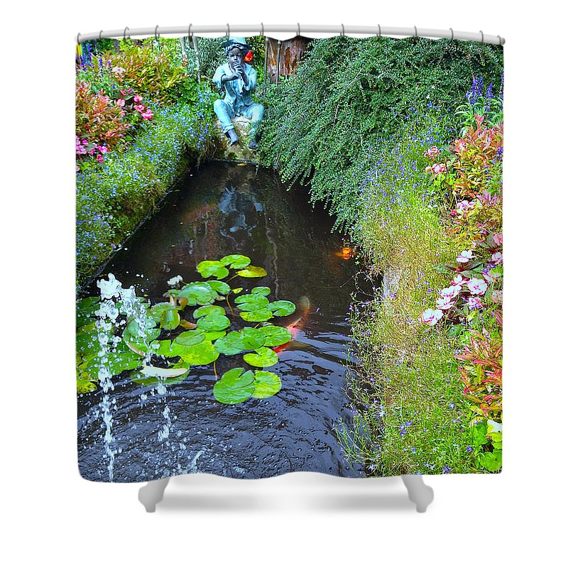 Photograph Shower Curtain featuring the photograph Koi Fountain by Nicole Parks