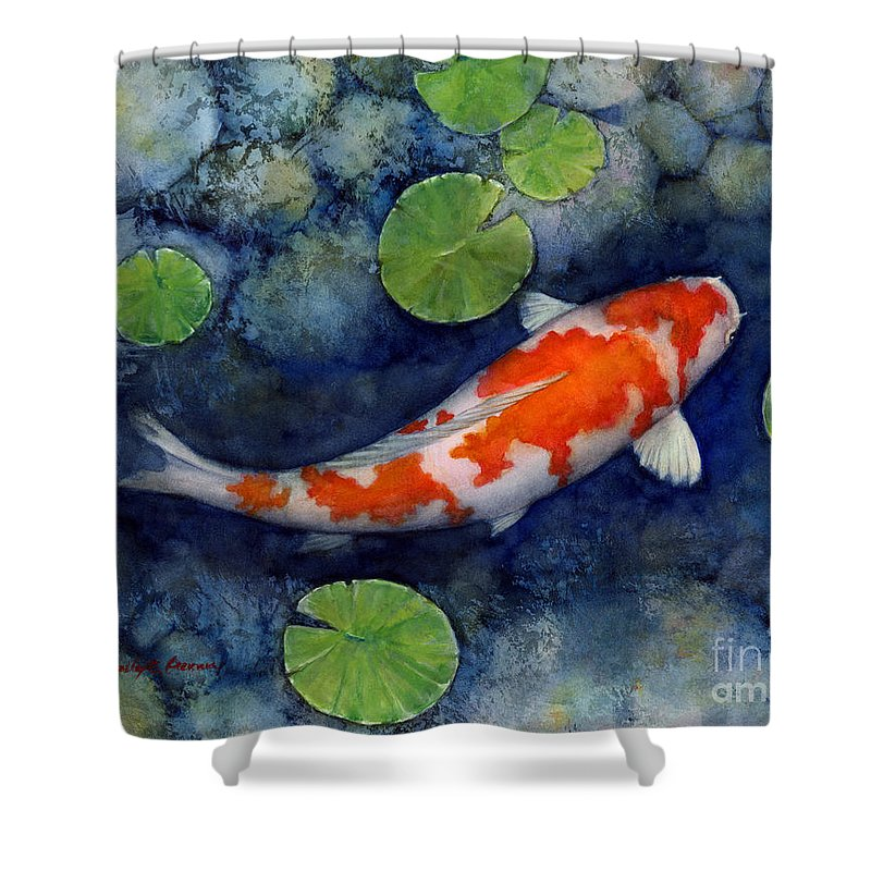 Koi Shower Curtain Featuring The Painting Pond By Hailey E Herrera