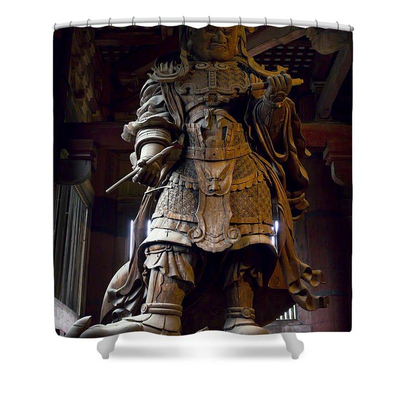 Manga Shower Curtain featuring the photograph Komokuten Guardian King - Nara Japan by Daniel Hagerman