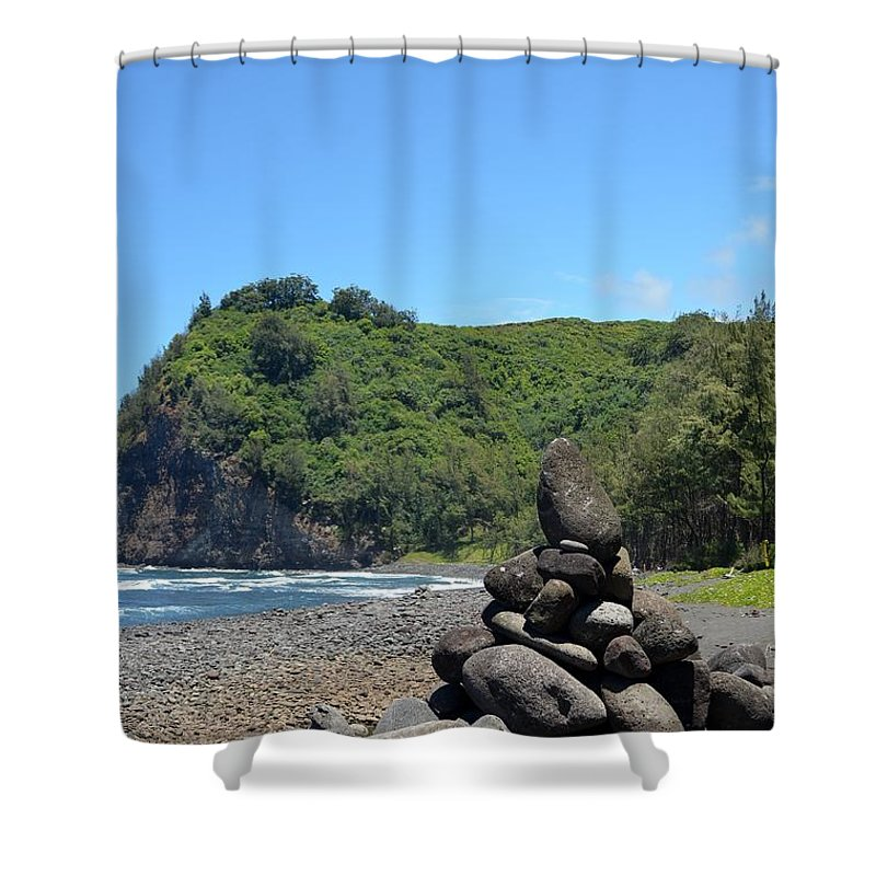 Kona Shower Curtain featuring the photograph Kona Coast Rock Stack by Amy Fose
