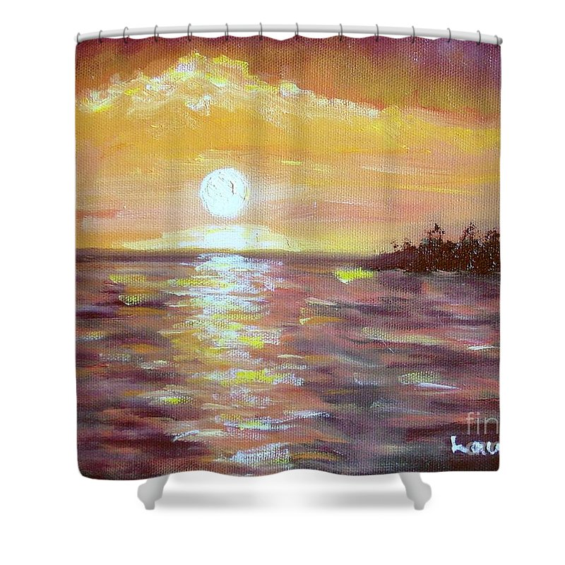 Sunset Shower Curtain featuring the painting Kona Sunset by Laurie Morgan