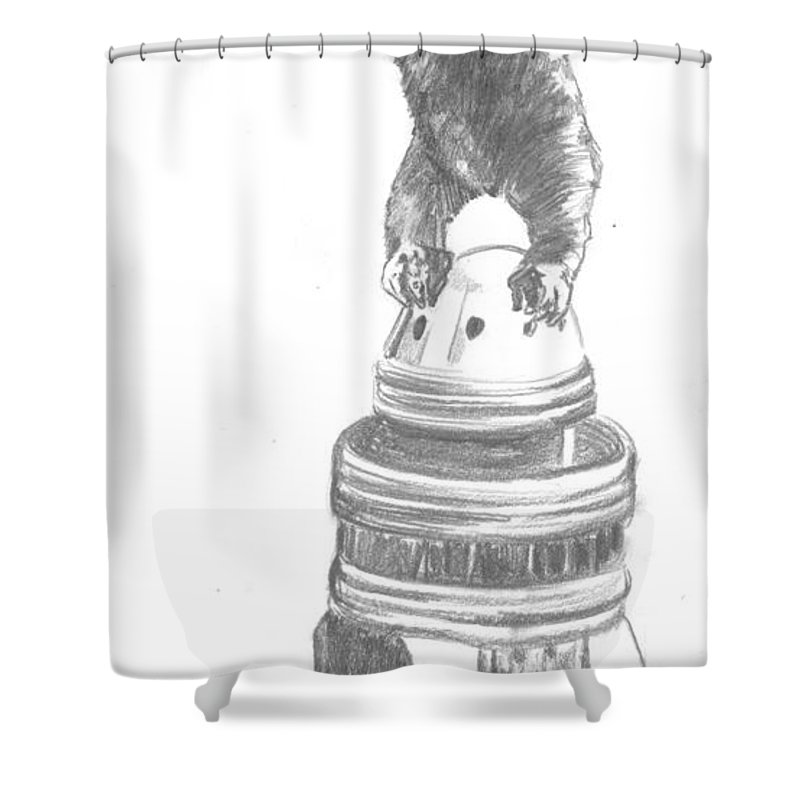 King Kong Shower Curtain featuring the drawing Kong The Eighth Wonder by Bryan Bustard