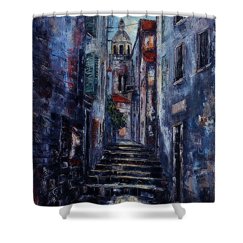 Architecture Shower Curtain featuring the painting Korcula - Old Town - Croatia by Miroslav Stojkovic - Miro