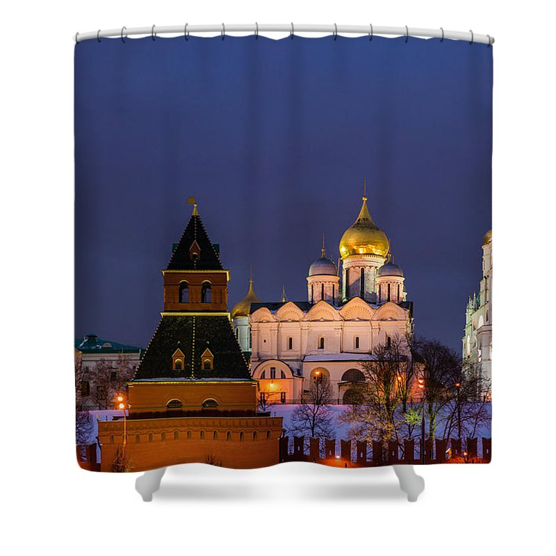 Annunciation Shower Curtain featuring the photograph Kremlin Cathedrals At Night - Featured 3 by Alexander Senin