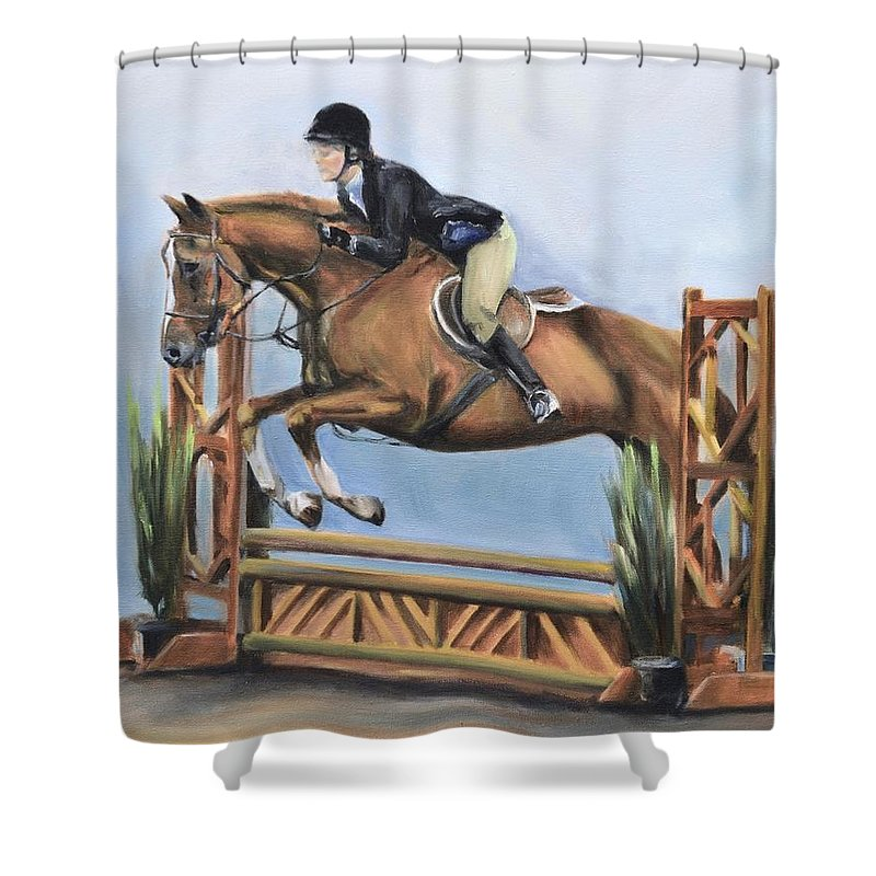 Horse Shower Curtain featuring the painting Kristin And Baghdad by Donna Tuten