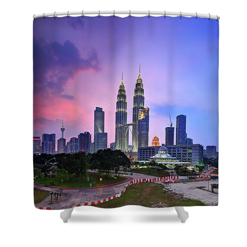 Built Structure Shower Curtain featuring the photograph Kuala Lumpur In Sunset And Haze by Tuah Roslan