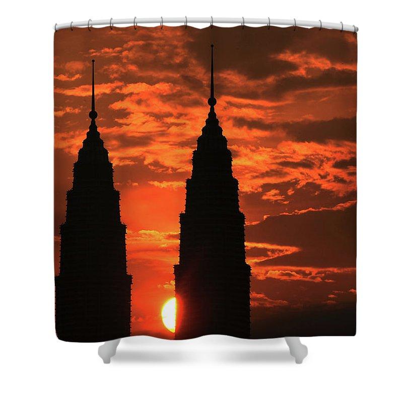 Scenics Shower Curtain featuring the photograph Kuala Lumpur Twin Tower At Sunset by Ahmad Junaidi Kuala Lumpur Malaysia