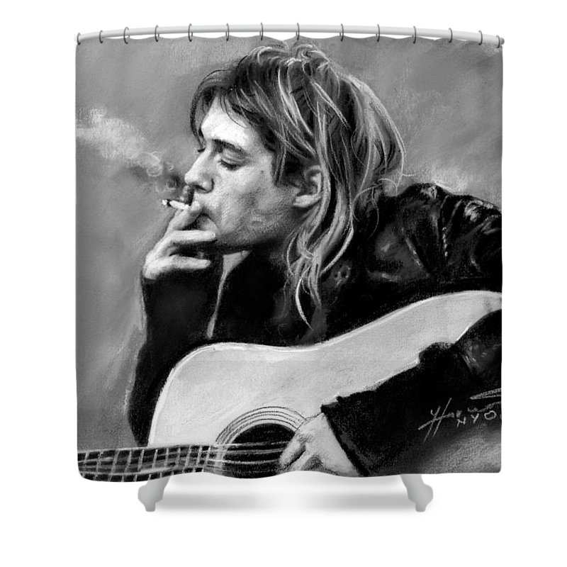 Kurt Cobain Shower Curtain Featuring The Drawing Guitar By Viola El