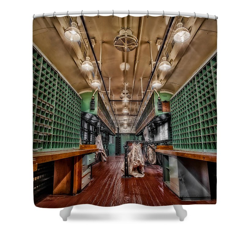 Mail Shower Curtain featuring the photograph L And N Rr 1100 by Susan Candelario