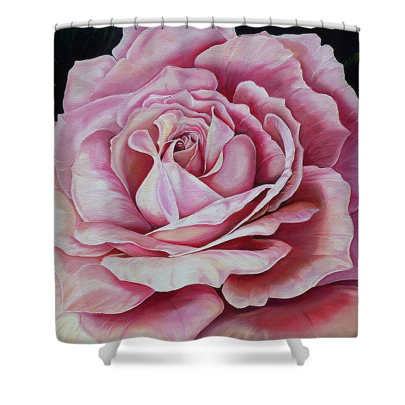 Rose Painting Pink Rose Painting  Floral Painting Flower Painting Botanical Painting Greeting Card Painting Shower Curtain featuring the painting La Bella Rosa by Karin Dawn Kelshall- Best