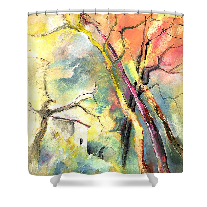 Landscapes Shower Curtain featuring the painting La Casita 03 by Miki De Goodaboom