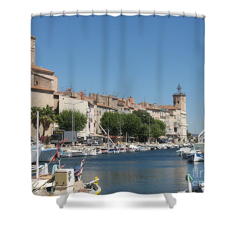 Habor Shower Curtain featuring the photograph La Ciotat Harbor by Christiane Schulze Art And Photography