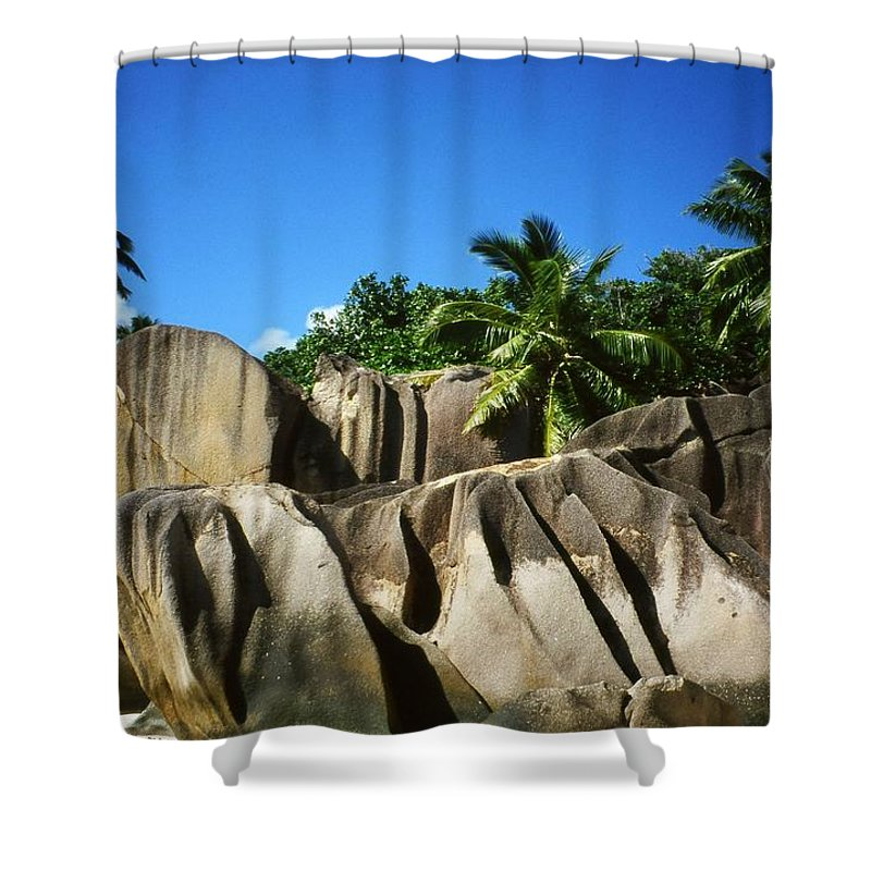 Ocean Shower Curtain featuring the photograph La Digue Island - Seychelles by Juergen Weiss