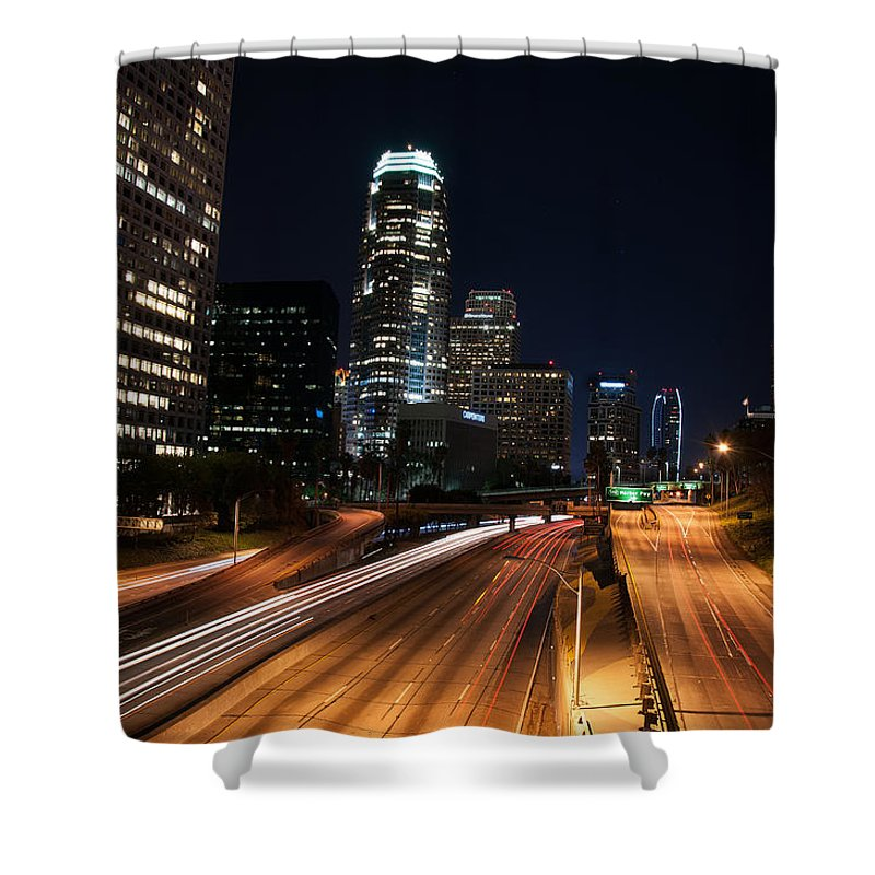 Los Angeles Shower Curtain featuring the photograph La Down Town by Gandz Photography