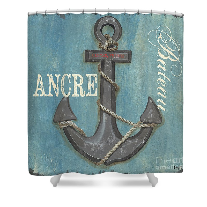 Coastal Shower Curtain featuring the painting La Mer Ancre by Debbie DeWitt