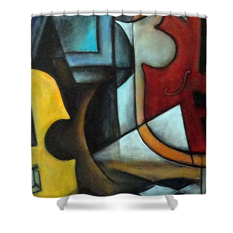 Abstract Shower Curtain featuring the painting La Musique 1 by Valerie Vescovi