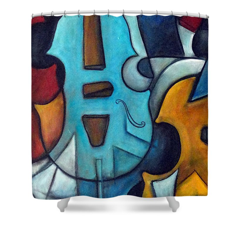 Music Shower Curtain featuring the painting La Musique 2 by Valerie Vescovi