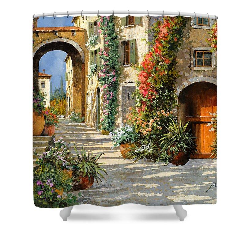 Landscape Shower Curtain featuring the painting La Porta Rossa Sulla Salita by Guido Borelli
