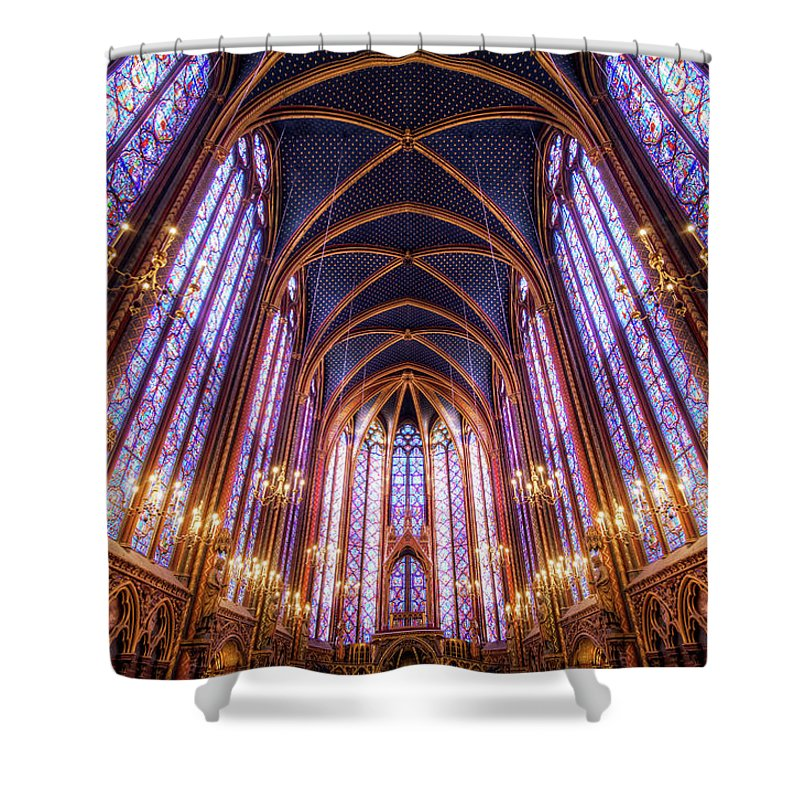 Arch Shower Curtain featuring the photograph La Sainte-chapelle Upper Chapel, Paris by Joe Daniel Price