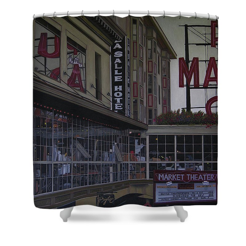 La Salle Hotel Shower Curtain featuring the painting La Salle Hotel by Thu Nguyen