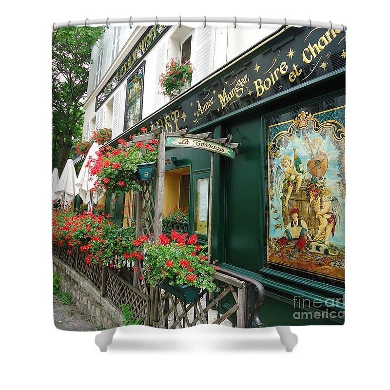 Bistro Shower Curtain featuring the photograph La Terrasse In Montmartre by Barbie Corbett-Newmin
