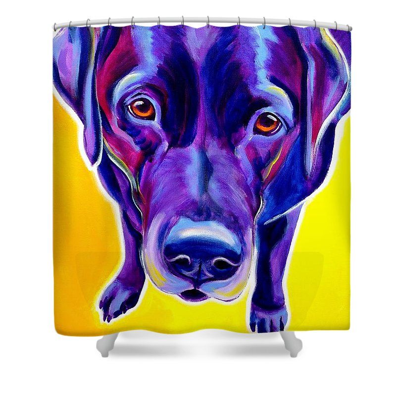 Dog Shower Curtain featuring the painting Lab - Messier by Alicia VanNoy Call