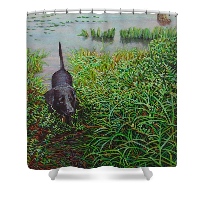 Animals Shower Curtain featuring the painting Labrador by Kenneth Cobb