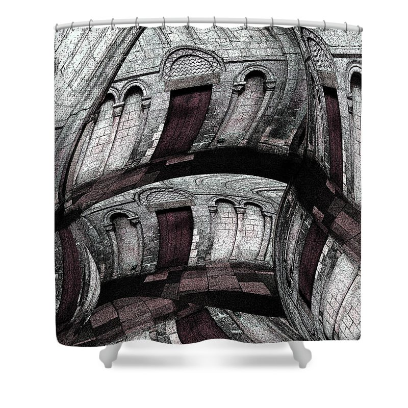 Abstract Shower Curtain featuring the digital art Labyrinth With Brown Doors by Stephanie Grant