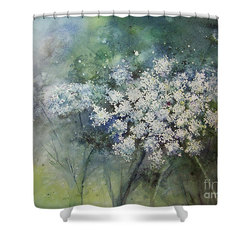 Queen Anne Shower Curtain featuring the painting Lace by Patricia Henderson