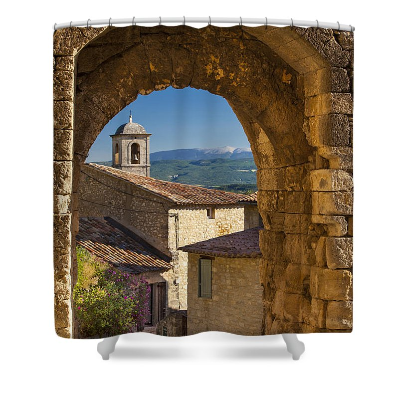 Arch Shower Curtain featuring the photograph Lacoste Gate by Brian Jannsen