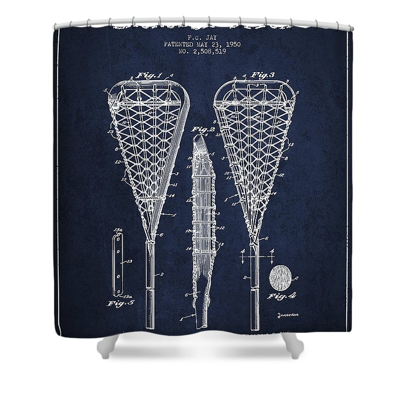 Lacrosse Stick Patent From 1950- Navy Blue Shower Curtain for Sale ...