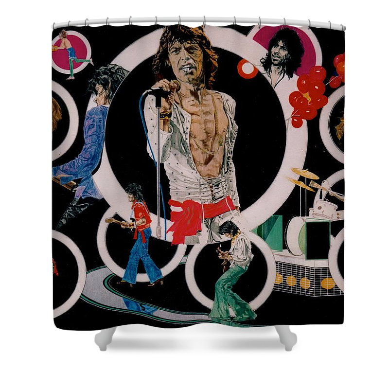 Mick Jagger;keith Richards;brian Jones;charlie Watts;bill Wyman;rock & Roll;music;guitars;water Shower Curtain featuring the drawing Ladies And Gentlemen - The Rolling Stones by Sean Connolly