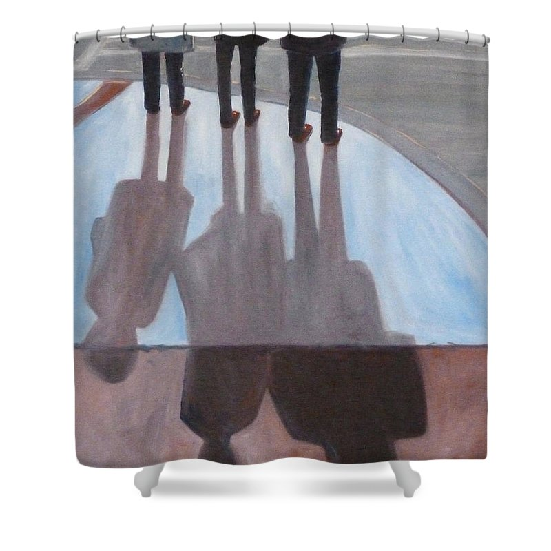 Oregon Shower Curtain featuring the painting Ladies In Red Shoes by Nancy Merkle