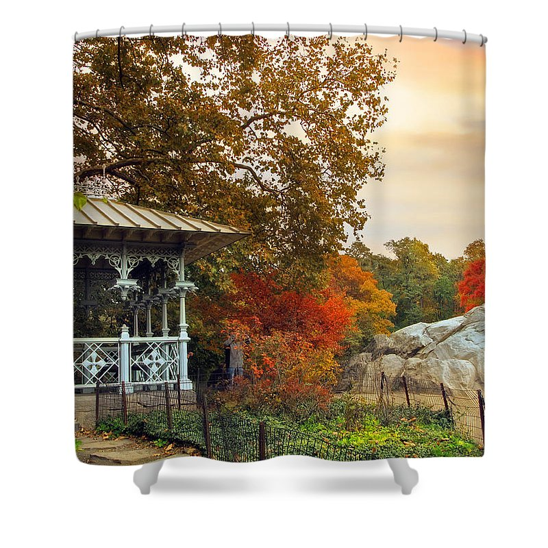 New York Shower Curtain featuring the photograph Ladies Pavilion In Autumn by Jessica Jenney